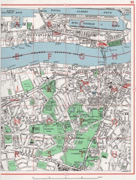 Associate Product WOOLWICH. Silvertown Charlton Royal Albert/Victoria/King George V Docks 1964 map