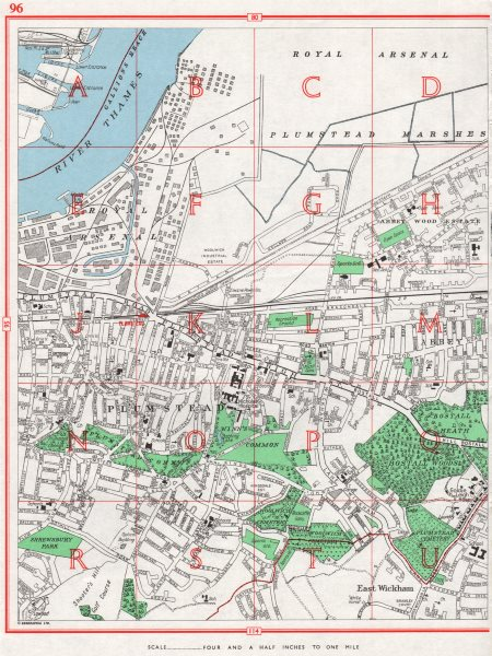 Associate Product WOOLWICH. Plumstead East Wickham Arsenal Marshes Abbey Wood. Pre-A2016 1964 map
