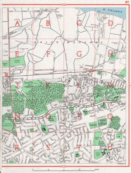 Associate Product ERITH MARSHES. Belvedere Lesnes Abbey Woods West Heath. Pre-A2016 1964 old map
