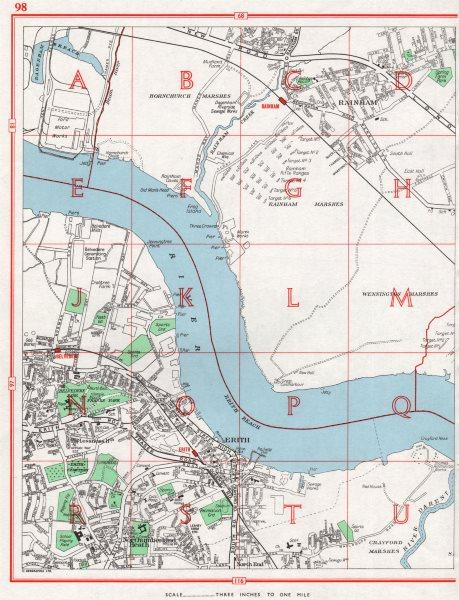 Associate Product ERITH.Rainham/Hornchurch Marshes Northumberland Heath Belvedere.Pre-A13 1964 map