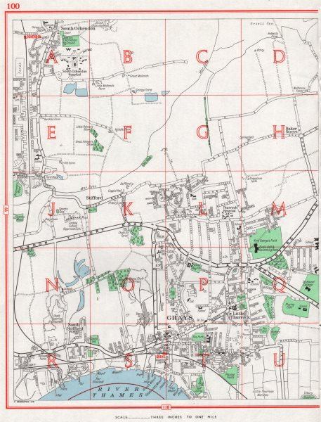 Associate Product GRAYS. South Ockendon Stifford Little Thurrock. Pre-A13 1964 old vintage map