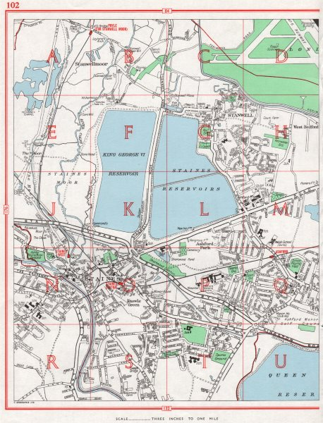 Associate Product STAINES. Stanwellmoor Stanwell Ashford. Pre-M25/Wraysbury Reservoir 1964 map