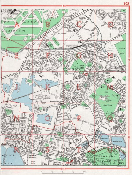 Associate Product FELTHAM. Ashford East Bedfont Sunbury Common Heathrow Kempton Park 1964 map