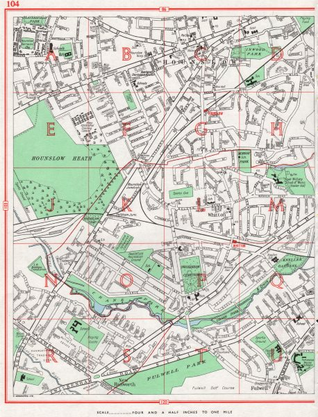Associate Product HOUNSLOW. Hounslow Heath Whitton Fulwell Kneller Hall 1964 old vintage map