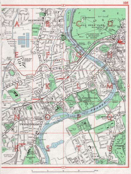 Associate Product RICHMOND-UPON-THAMES. Isleworth Twickenham St. Margarets Petersham Ham 1964 map