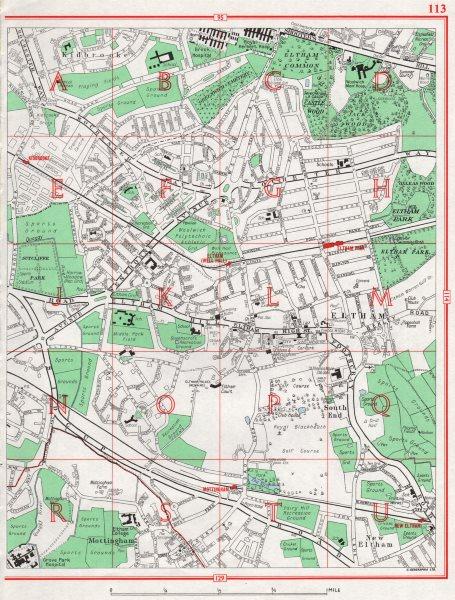 Associate Product ELTHAM. South End Mottingham Kidbrooke Eltham Palace 1964 old vintage map