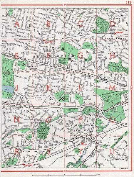 Associate Product BEXLEYHEATH. Bexley Barnehurst Upton Bridgen Coldblow 1964 vintage map