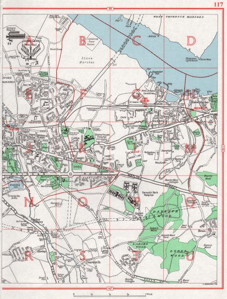 Associate Product DARTFORD. Greenhithe New Town Darenth Stone Temple Hill. Pre bypass 1964 map