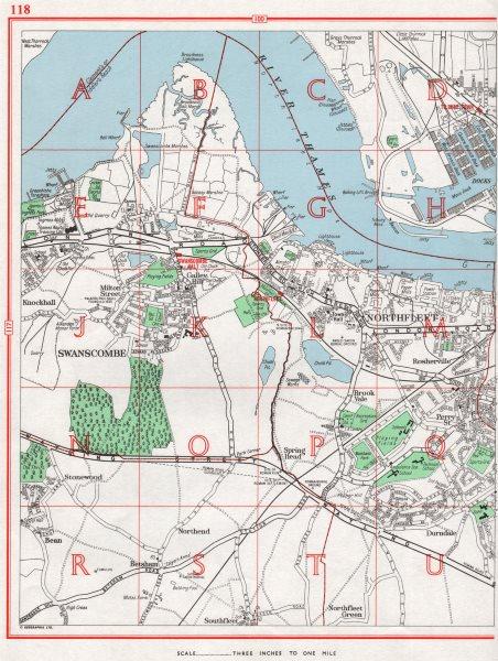 Associate Product SWANSCOMBE.Northfleet Gravesend Stonewood Ebbsfleet Tilbury Docks.KENT 1964 map