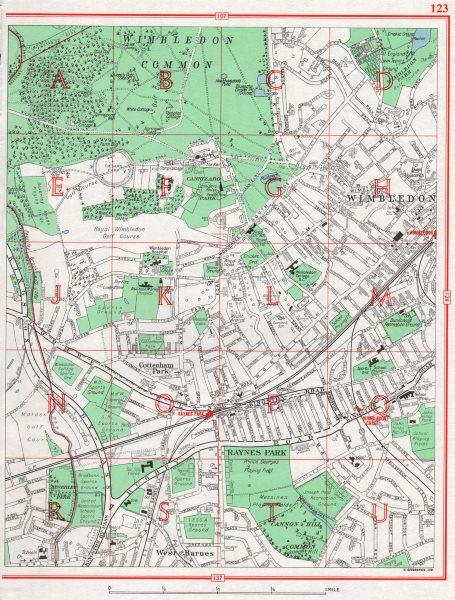 Associate Product WIMBLEDON. Common Cottenham Park West Barnes Copse Hill Raynes Park 1964 map