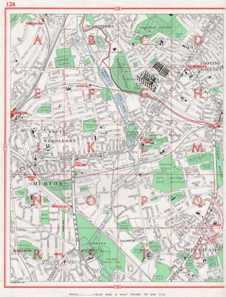 Associate Product MERTON. Mitcham Morden South Wimbledon Tooting Graveney Colliers Wood 1964 map