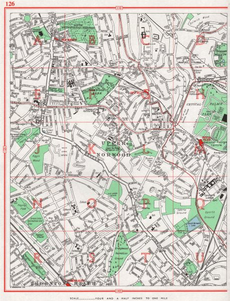Associate Product UPPER NORWOOD. Streatham Crystal Palace Thornton Heath Gipsy Hill 1964 old map