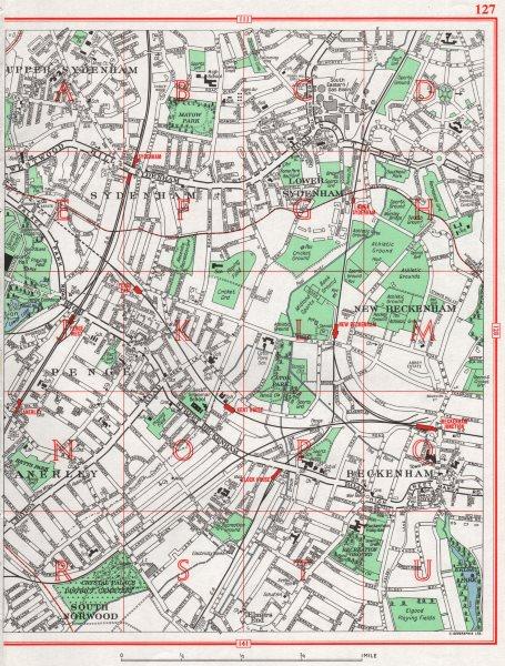 Associate Product BECKENHAM. Sydenham Penge Anerley South Norwood 1964 old vintage map chart