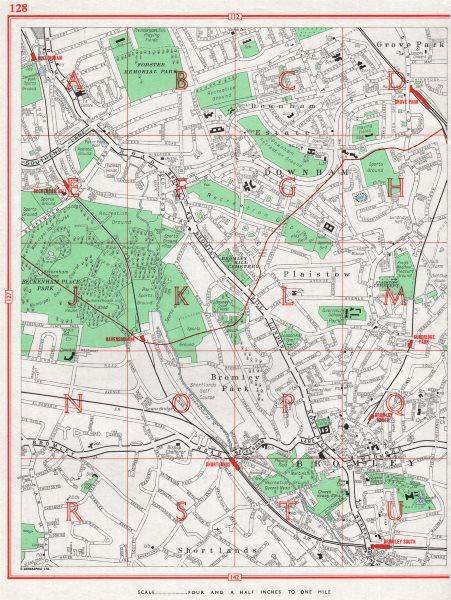Associate Product BROMLEY. Beckenham Downham Plaistow Shortlands Grove Park Plaistow 1964 map