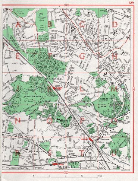Associate Product BROMLEY. Chislehurst West Elmstead Widmore Bickley Mottingham 1964 old map