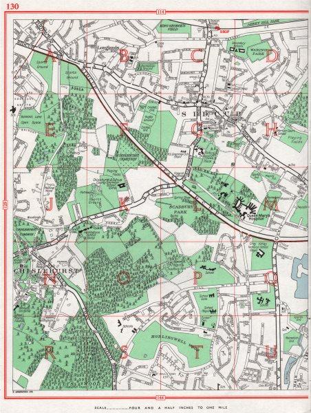 Associate Product SIDCUP. Chislehurst Longlands St Paul's Cray Scadbury Park 1964 old map