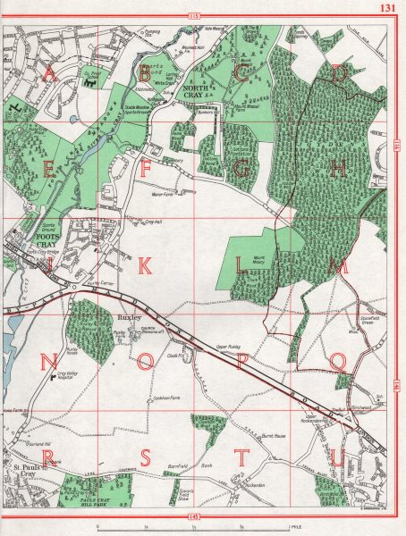 Associate Product SIDCUP. Ruxley St. Pauls Cray Foots Cray Swanley. Pre-A20 1964 old vintage map