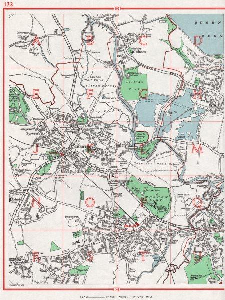 Associate Product CHERTSEY.Laleham Eastworth Addlestone Weybridge Shepperton Grn.Pre-M25 1964 map