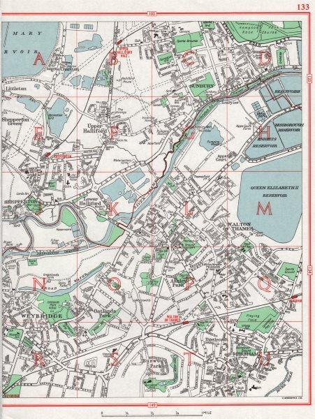 Associate Product WALTON-ON-THAMES. Weybridge Halliford Shepperton Hersham. Pre-M25 1964 old map