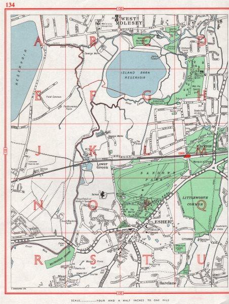 Associate Product ESHER. West/East Molesey Lower Green Sandown Park Harelane. Surrey 1964 map