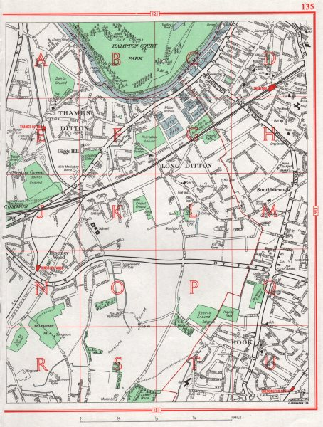 Associate Product SURBITON. Thames Ditton Long Ditton Giggs Hill Hinchley Wood Hook 1964 old map