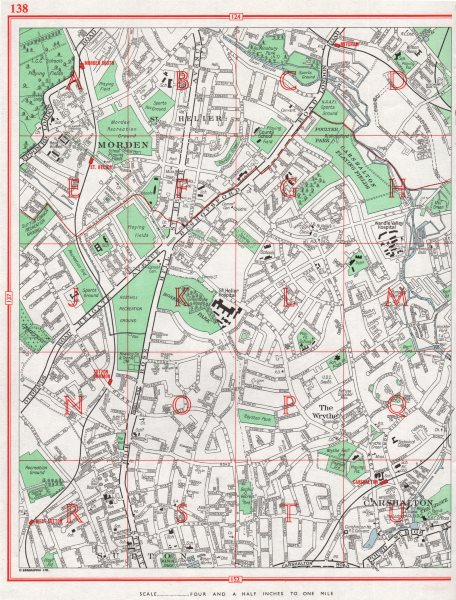 Associate Product SUTTON. St Helier Rosehill The Wrythe Carshalton Morden 1964 old vintage map