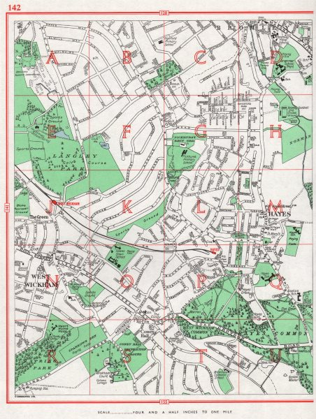 Associate Product BECKENHAM. Bromley Hayes The Green West Wickham Coney Hall 1964 old map