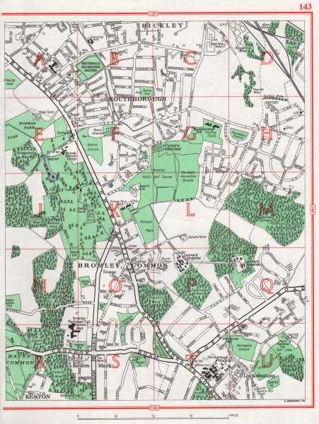 Associate Product BROMLEY COMMON. Bickley Southborough Locksbottom Keston Mark 1964 old map