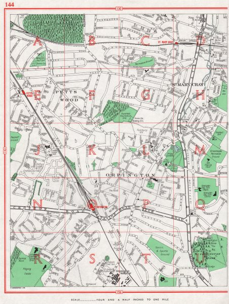 Associate Product ORPINGTON. Petts Wood St. Mary Cray Poverest Broom Hill 1964 old vintage map