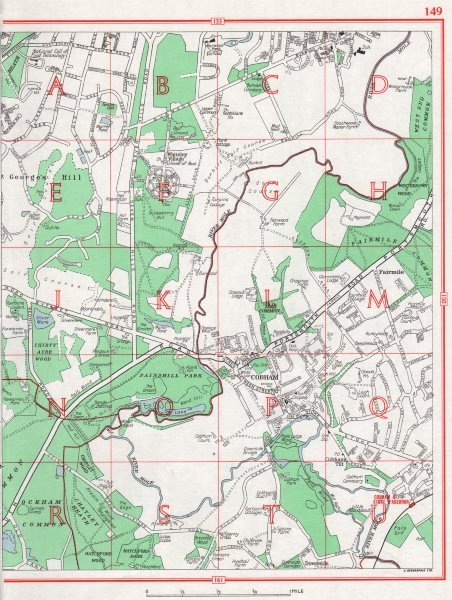 Associate Product COBHAM.St George's Hill Fairmile Whiteley Village.Pre-A3 Pre-M25.Surrey 1964 map