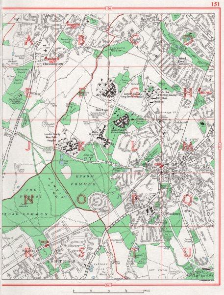 Associate Product EPSOM. Chessington West Ewell Horton Epsom Woodcote Ashtead. Surrey 1964 map