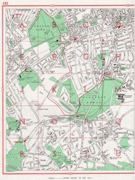 Associate Product SUTTON. Stoneleigh Cheam Ewell Nork Banstead Epsom Downs. Surrey 1964 old map