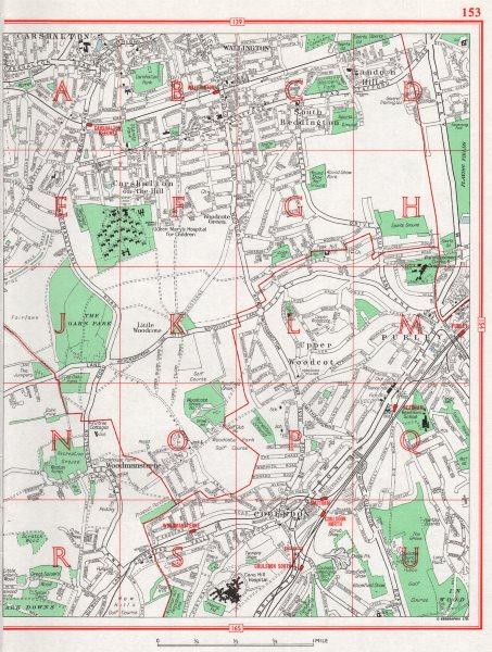 Associate Product CARSHALTON.Wallington Beddington Woodcote Purley Woodmansterne Coulsdon 1964 map