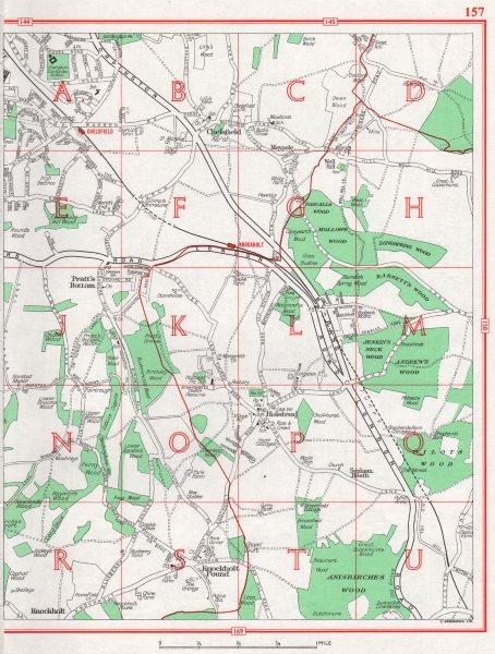 Associate Product ORPINGTON. Chelsfield Pratt's Bottom Halstead Knockholt Pound. Pre-M25 1964 map