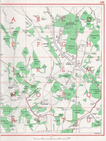 Associate Product KENT. West Kingsdown Sidehilly Wood Woodlands Brands Hatch. Pre-M20 1964 map