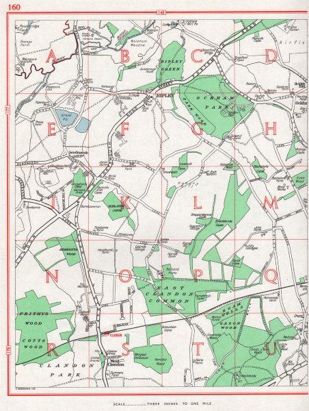 Associate Product SURREY. Ripley West Clandon Burntcommon Send Marsh. Pre-A3 1964 old map