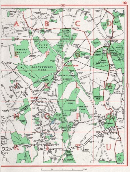 Associate Product EAST HORSLEY. West Horsley Effingham Little Bookham. Pre-M25. Surrey 1964 map