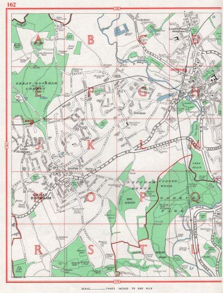 Associate Product LEATHERHEAD. Great Bookham Fetcham Little Bookham Leatherhead Common 1964 map