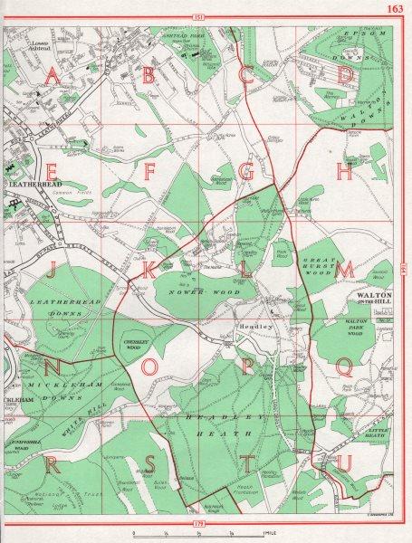 LEATHERHEAD.Lower Ashtead Headley Mickleham Langley Vale.Pre-M25.Surrey 1964 map