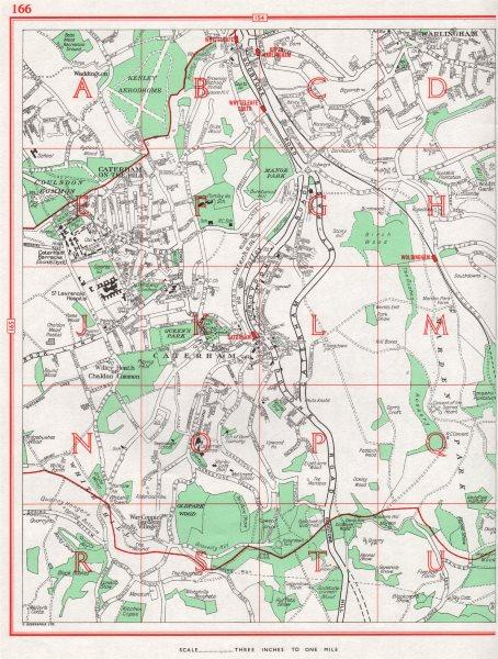 Associate Product CATERHAM. Warlingham Coulsdon Common. Pre-M25. Surrey 1964 old vintage map