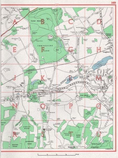 Associate Product KENT. Brasted Sundridge Longford Knockholt. Pre-M25, A21 1964 old vintage map