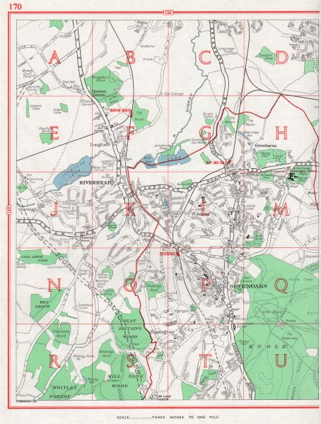 Associate Product SEVENOAKS. Riverhead Greatness Kippington Longford Dunton Green. KENT 1964 map
