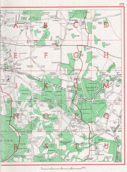 Associate Product KENT. Kemsing Seal Noah's Ark Ivy Hatch Seal Chart 1964 old vintage map