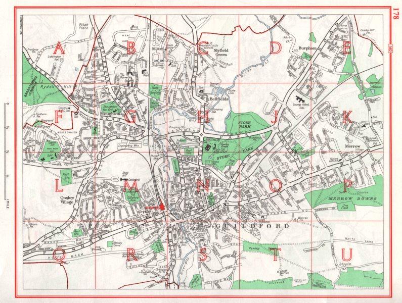 Associate Product GUILDFORD. Slyfield Bellfields Onslow Village Burpham Merrow Stoughton 1964 map