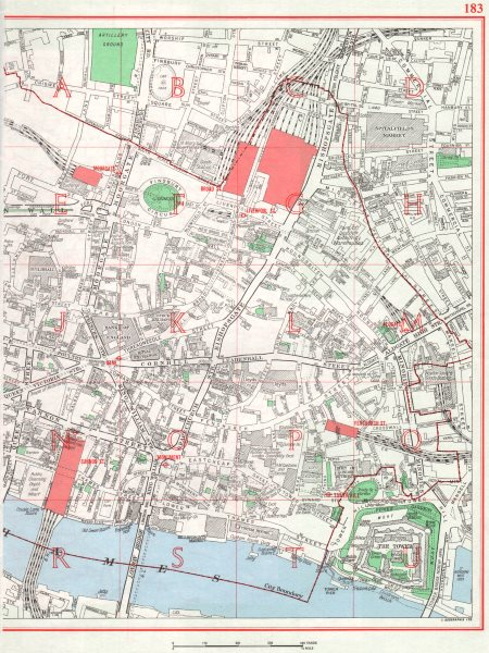 Associate Product CITY OF LONDON. Moorgate Broad St Liverpool St Cannon St Monument 1964 old map
