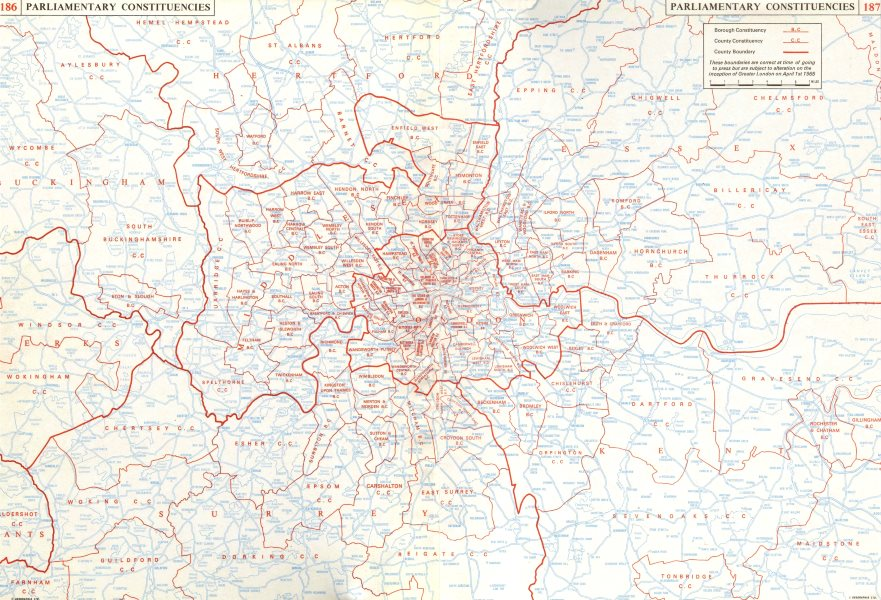 Associate Product GREATER LONDON. Parliamentary Constituencies. Home counties.On 2 sheets 1964 map
