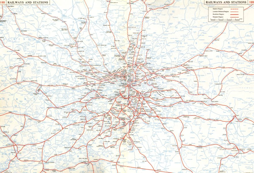 GREATER LONDON. Railways Stations connections. On 2 separate sheets 1964 map