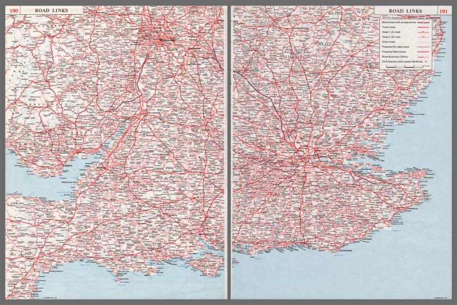 Associate Product SOUTHERN ENGLAND ROADS. Part built M1 M2 M5 M50 M4 A20 (M) . 2 sheets 1964 map