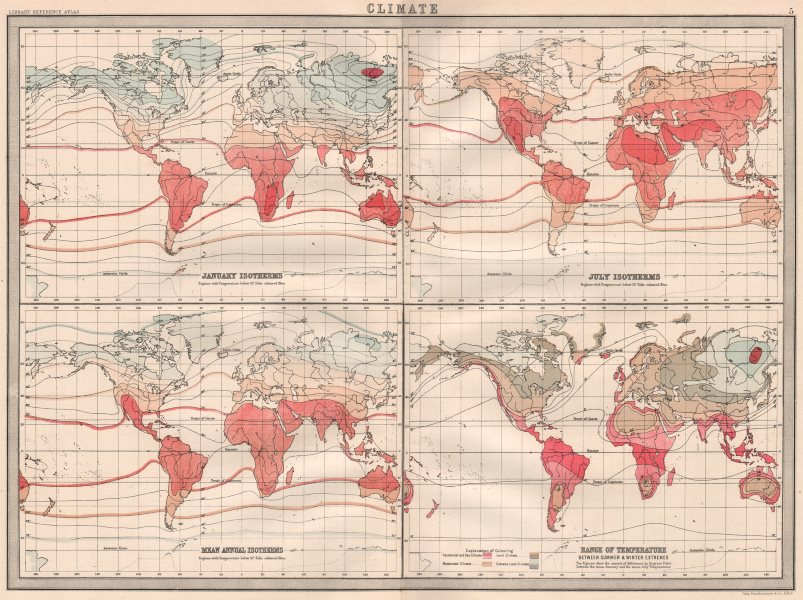 Associate Product WORLD TEMPERATURE.January July Isotherms.Temperature range.BARTHOLOMEW 1890 map