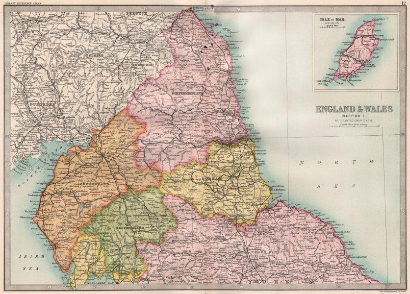 Associate Product NORTHERN ENGLAND. Cumberland Westmoreland Northumberlan. BARTHOLOMEW 1890 map